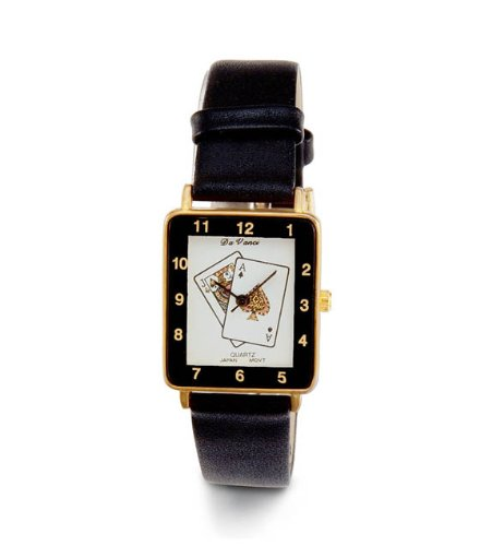 Mens New Jack Ace Spades Play Cards Black Wrist Watch front-783520