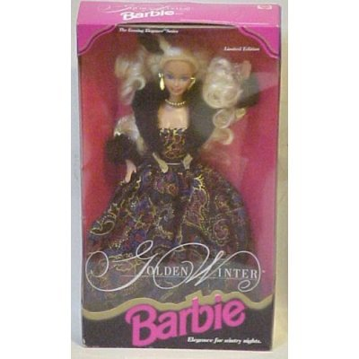 41pT9rJZbCL Cheap  Barbie 1993 Limited Edition The Evening Elegance Series 12 Inch Doll   Golden Winter Barbie with Dress, Jacket, Hairpiece,
