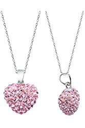 .925 Sterling Silver Pink Crystal Heart Shape Pendant Necklace,18