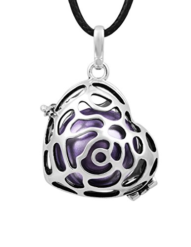 Eudora Mom To Be Necklace Silver Rose Locket Pendant 18Mm Chime Ball Angel Caller Pendant