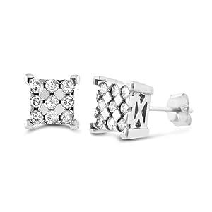 10k White Gold 1/4-ct. T.W. Diamond Square Stud Earrings