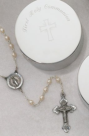 First Communion Pearl Rosary and Keepsake Box