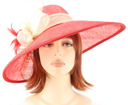 Red and Cream Sinamay Asymmetric Shaped Wide Brim Formal Hat with Side Sinamay Bow & Feathers