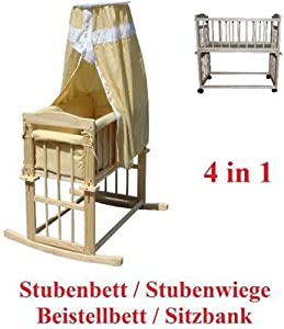 4 in 1 wiege babywiege stubenbett stubenwagen bett kinderbett babybett beistellbett baby. Black Bedroom Furniture Sets. Home Design Ideas