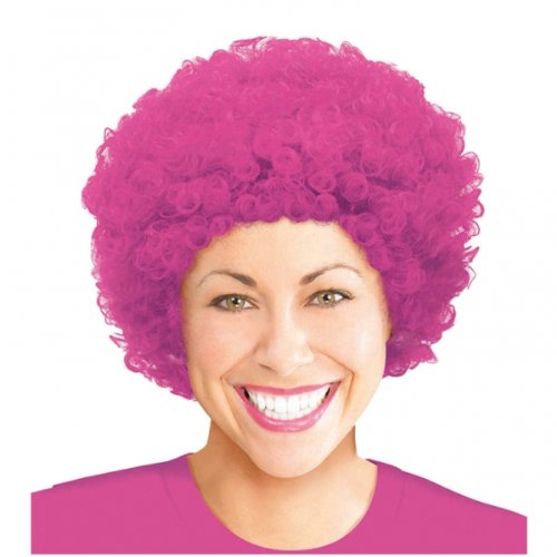 Pink Curly Afro Wig - 1