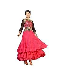 EthnicCrush Dusty Pink Net Semi Stitched Embroidered Salwar Kameez