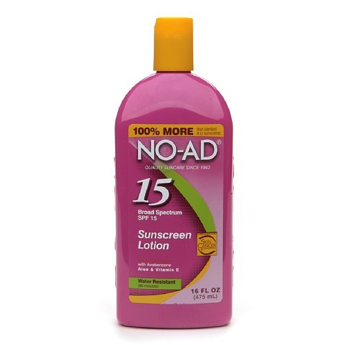 No-Ad Water Resistant Sunscreen Lotion Spf 15, 16 Fl Oz / 475 Ml (Pack Of 4)