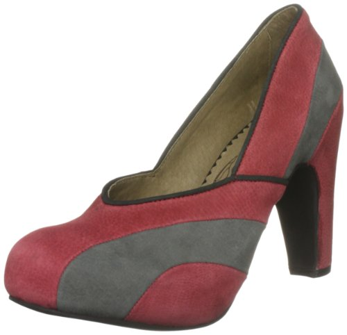 Fly London Women's Fuss Red/Grey/Black Special Occasion Heels P142031003 7 UK