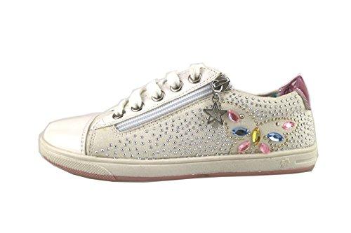 LAURA BIAGIOTTI sneakers bambina bianco tessuto pelle AH985 (34 EU)