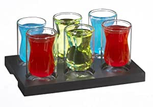 GROSCHE Istanbul Set of 6 premium Double walled double shot glasses with wooden tray, 90 ml (3 fl. oz) each