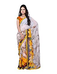 Aaliyah Women's Georgette Saree With Blouse Piece(White)