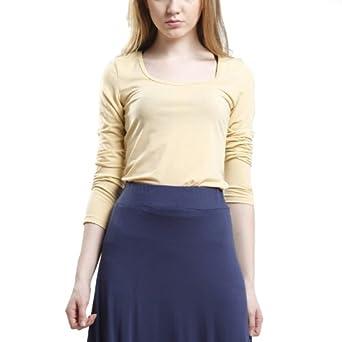 Doublju Womens Agnes Basic U-neck Long sleeve t-shirts BEIGE Asian S (PW05)