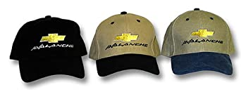 Chevy AVALANCHE Truck Fine Embroidered Hat Cap, Khaki/Black