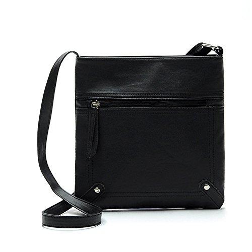 Longra Leather Satchel delle donne di modo di Crossbody spalla borsa Messenger Bag (Nero)