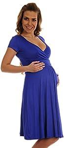 Happy Mama. De Las Mujeres Maternidad Jersey Llamarada Bebé Ducha Vestido Corto Mangas. 108P