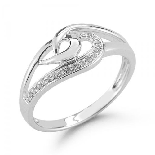 Silver 0.06cts Diamond Ring with 2 bands on Each Side