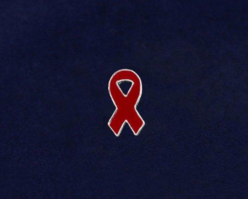 Red Ribbon Pin - Small Flat Ribbon Pin (50 Pins)