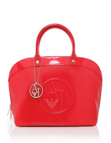 Armani Jeans Jacket Patent Bugatti Shopper Bag RED