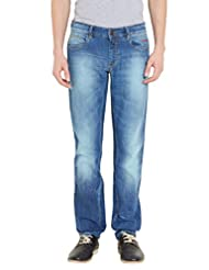Le Bison Men Blue Cotton Slim Fit Jeans - B010D6IYJO