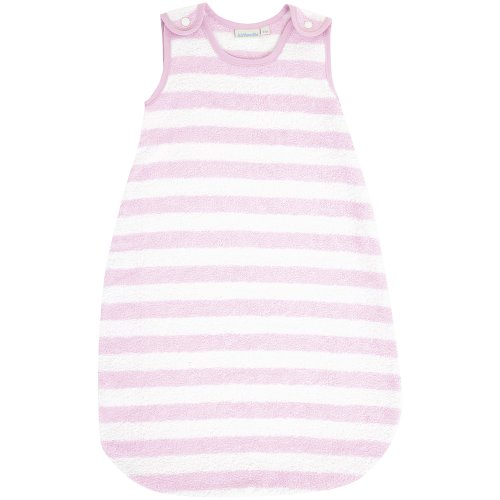 JoJo Maman Bebe Baby Towelling Sleeping Bag, Pink White Stripe, 6-18 Months - 1