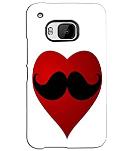 EU4IA Love Moustache Heart Pattern MATTE FINISH 3D Back Cover Case For HTC ON...
