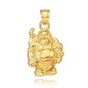 solid 14k yellow gold lucky charm laughing buddha necklace