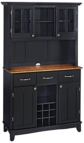 Lexington Large Oak Top Black 44-Inch-W Buffet With Hutch