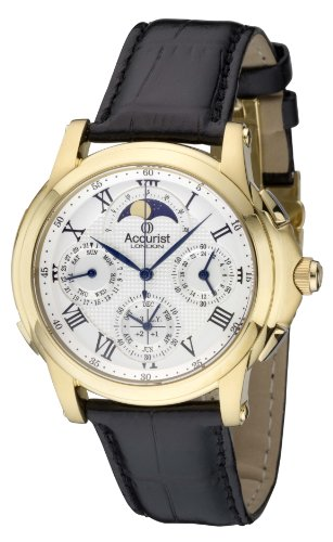Accurist Grand Complication Men's Quartz Watch with Silver Dial Chronograph Display and Black Leather Strap GMT320W