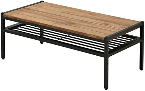アイアン*ウッド センターテーブル 90cmタイプ 幅90cm×奥行46cm×高さ35cm パイン材 オイル仕上げ PT-900BRN