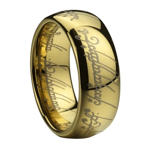 D&j Jewelry Women Men's 18k Yellow Gold Plated Stainless Steel Lord of the Rings Wedding Band or Engagement Ring 8mm 0.31