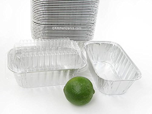 Disposable Aluminum 1 lb. Mini Loaf Pans with Clear Dome Lids- Pack of 20 pans & 20 Lids (Mini Loaf Pan Disposable compare prices)