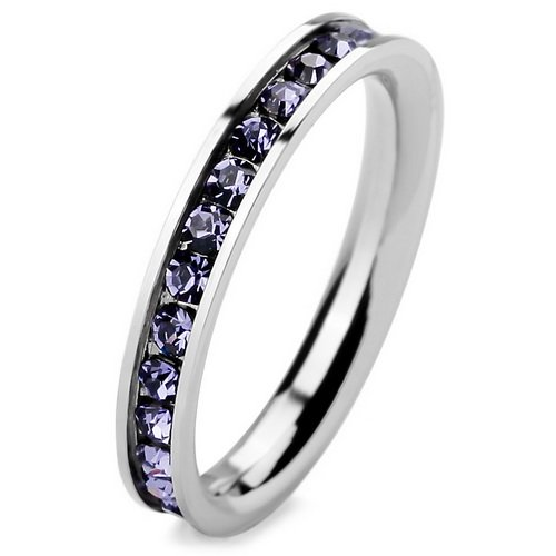 Light Purple Stainless Steel CZ Engagement Bridal Wedding Ring SIZE 7