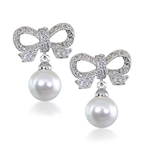 Click to buy Cheap Pearl Earring: Bridal CZ Ribbon Pearl Sterling Silver Dangling Chandelier Earrings from Amazon!