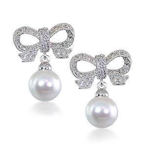 Bridal CZ Ribbon Pearl Sterling Silver Dangling Chandelier Earrings
