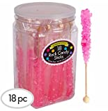 Candy City Bright Pink Bubble Gum Rock Candy Sticks - 18ct Tub