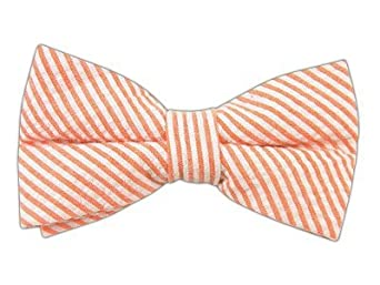 100% Cotton Orange Seersucker Self-Tie Bow Tie