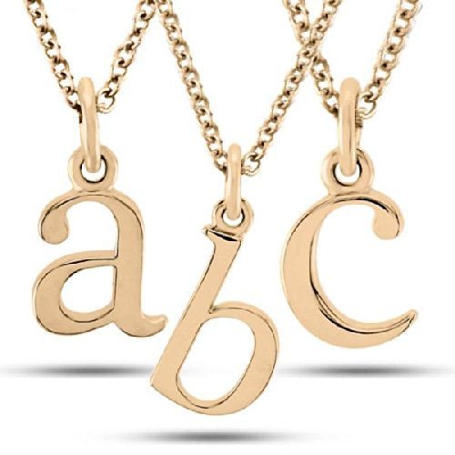 Women'S Lower-Case Block Letter Single Initial Pendant Necklace In 14K Rose Gold