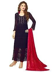 New Dark Blue & Pink Nazneen Chiffon Dress Material
