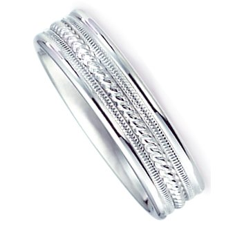 6.0 mm 10Kt White Gold Wedding Ring with Brushed Satin Finish and Center Rope Design. Comfort Fit Style SV59-206W6, , Finger Size 14¾
