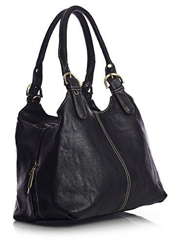 big-handbag-shop-womens-medium-size-plain-multi-pocket-shoulder-bag-with-a-long-strap-33622-black