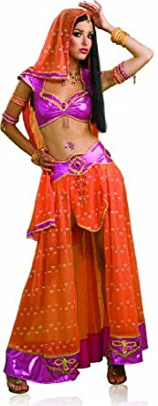 Secret Wishes Sexy Bollywood Dancer Costume, Pink/Orange, X-Small