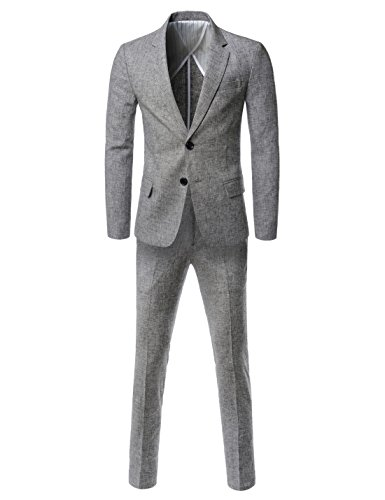 Showblanc (SBNDS1005) Mens Premium Linen Single 2 Button Fitted Business Suit Set GRAY US XS(Tag size M) 2 Button Seersucker Suit
