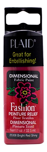 Plaid 25308 Fashion Dimensional Fabric Paint, Bright Red