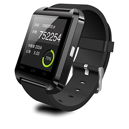 "ANDROSET Smartwatch for iPhone and Android/ 1.5"" LCD Smartwatch Bluetooth V3.0 Support Message Display (BLACK)"