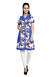 Anekaant Blue Multi Floral Print Cotton Tunic