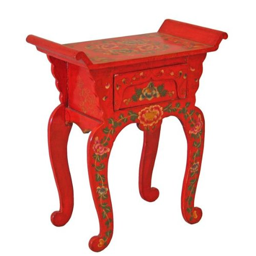 Cheap EXP Handmade Asian furniture-26″ Red Tibetan Console / End Table With Painted Peonies – Pagoda Shape (B001MZV54W)
