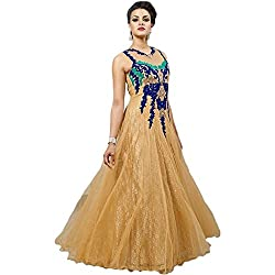 Awesome Fab Golden Colour Net Partywear Designer Gown