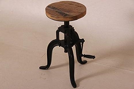 Casa Padrino Designer Industrial Design Beistelltisch / Hocker Höhenverstellbar Teakholz / Metall - Durchmesser 30 cm - Vintage Design Tisch Rund