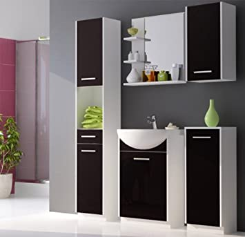 badm bel set atlantis hochglanz schwarz lackiert 90cm besteht aus waschbeckenunterschrank. Black Bedroom Furniture Sets. Home Design Ideas
