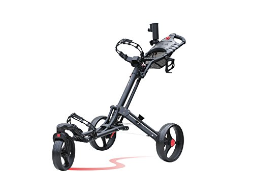 Caddytek One-Click Folding 3 Wheel Golf Push Cart with Swivel Front Wheel, Dark Grey